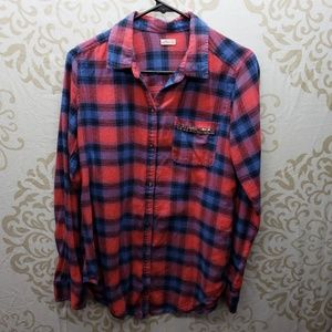 Hollister Red/Blue Flannel with Beaded Pocket